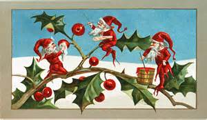 Holiday Craft Projects - vintage elves with holly image the graphics fairy