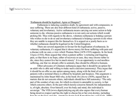 Euthanasia Agree Disagree Essay by Euthanasia Should Be Legalised Agree Or Disagree A Level Religious Studies Philosophy