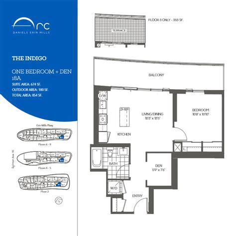 den floor plan daniels arc condos one bedroom den floor plans