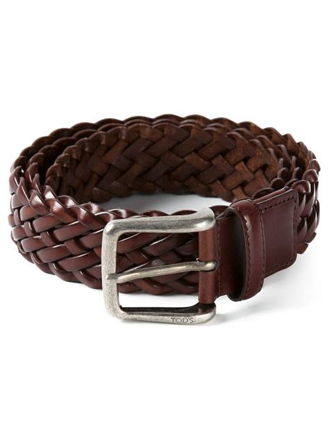 tod s woven belt in brown for lyst