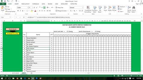 membuat daftar hadir otomatis dengan microsoft excel belajar excel belajar membuat daftar hadir siswa dengan
