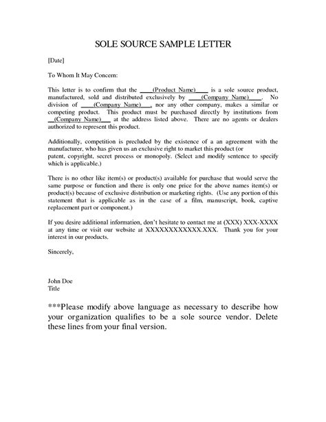 Contract Justification Letter sole supplier letter template 28 images sole source