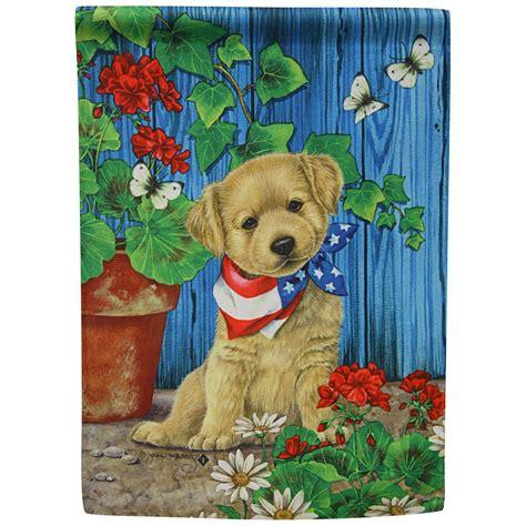 patriotic puppy garden flag  animal rescue site