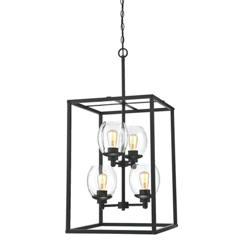 Home Depot Chandelier Shades Westinghouse Ardleigh 4 Light Matte Black Chandelier With Clear Glass Shades 6328000 The Home
