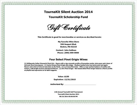 landscape certificate templates 100 silent auction gift certificate template chagne 100