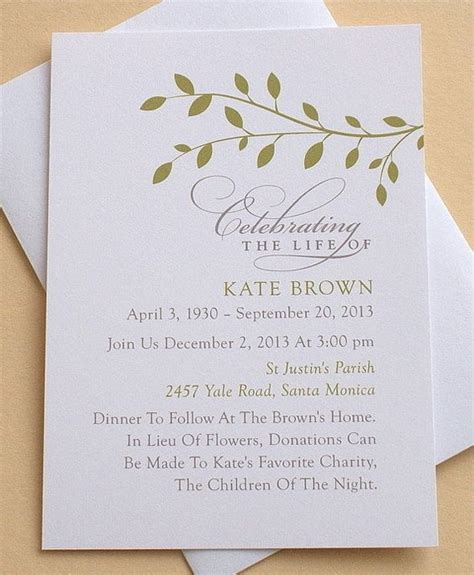 Memorial Service Invitation Letter Memorial Invitation With Green Leaves Personalized Flat Cards Fonts The Words And Invitations