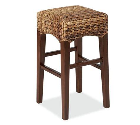 seagrass banana leaf or rattan bar stools with backs seagrass backless barstool pottery barn