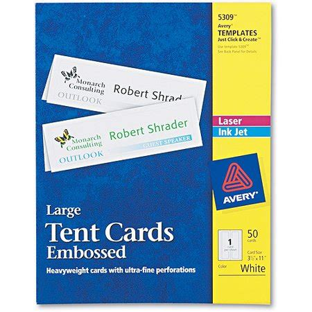 large tent card template 5309 avery large embossed tent card white 3 1 2 x 11 1 card