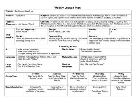 Naeyc Lesson Plan Template For Preschool Sle Weekly Lesson Plan Template School Pre K Lesson Plan Template