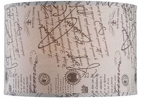 french script l shade drum l shade 18 quot linen french script traditional