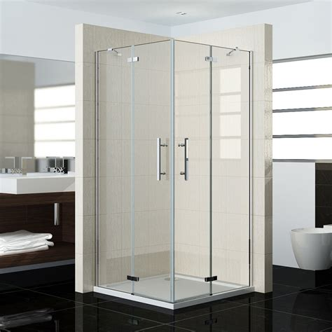 Frameless Corner Shower Doors Pivot Frameless Corner Entry Shower Enclosure Cubicle Glass Hinge Door Screen Ebay