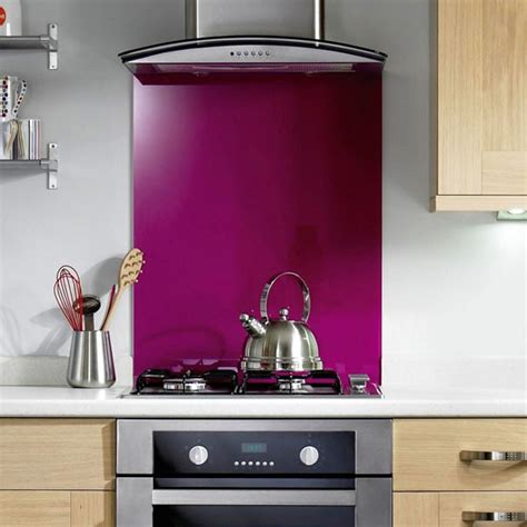 glass fuchsia splashback from b q kitchen splashbacks