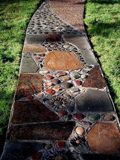 Design For Small Garden Spaces - how to make natural pebble mosaic and stepping stones for your garden