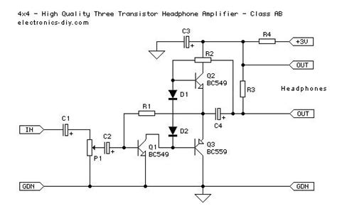 transistor headphone lifier schematic three transistor headphone lifier class ab