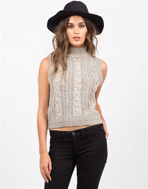Cs708 Top Turtle V Line Grey sleeveless turtleneck sweater white sweater grey top 2020ave