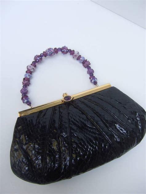 Snakeskin Evening Bag by Judith Leiber Black Snakeskin Evening Bag With Glass