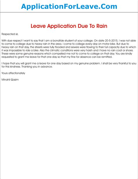 Excuse Letter Due To Bad Weather Leave Application Due To Heavy