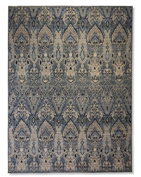 ikat wool rug knotted wool silk ikat rug williams sonoma
