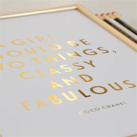 printable typography coco chanel quote gold foil gold lips foil classy and fabulous coco chanel quote print by