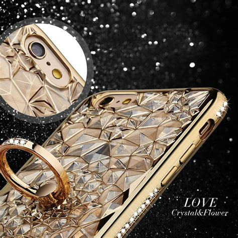 Soft Flowers Ring For Iphone 6 Plus gold plating 3d rugged flower glitter diamonds phone