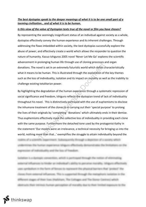 Dystopia Essay by Never Let Me Go Dystopia Essay Year 11 Hsc Extension 1 Thinkswap