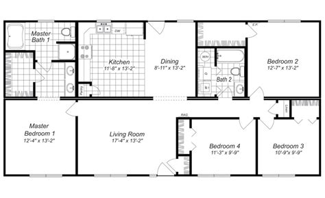Modern Design 4 Bedroom House Floor Plans Four Bedroom 4 Bedroom House Plans With Office