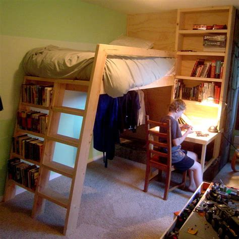 How To Make A Bunk Bed Shelf Loft Beds With Bookshelf Ladders
