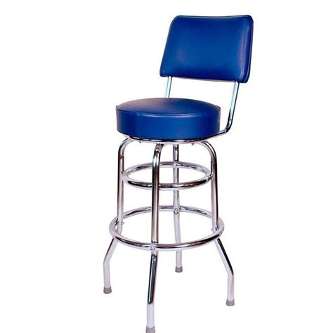 Blue Bar Stool by Richardson Seating Retro 1950s 30 Quot Chrome Swivel Bar Stool