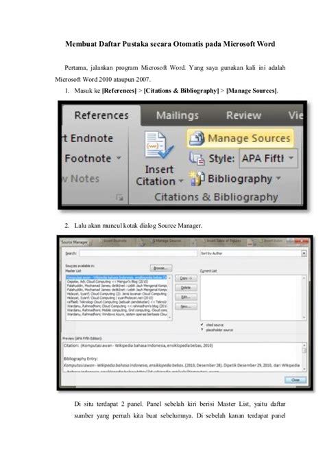 cara membuat daftar pustaka dari internet di word contoh daftar pustaka microsoft word 2007 oliv asuss