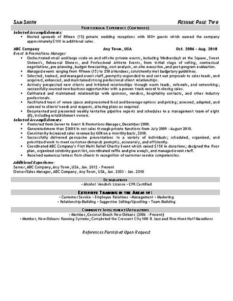 Sample Resume Format With Achievements by Event Planner Resume Example