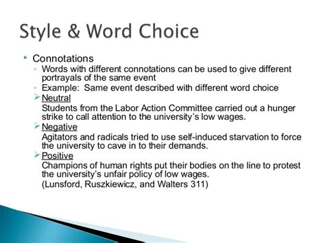 Choice Essay Exle by 104 Style And Word Choice