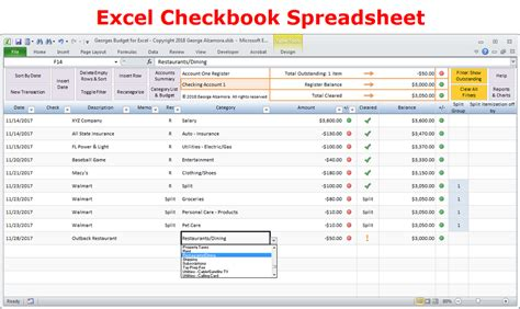 Excel Budget Spreadsheet And Checkbook Register Software Buy Excel Templates Excel Checkbook Register Template