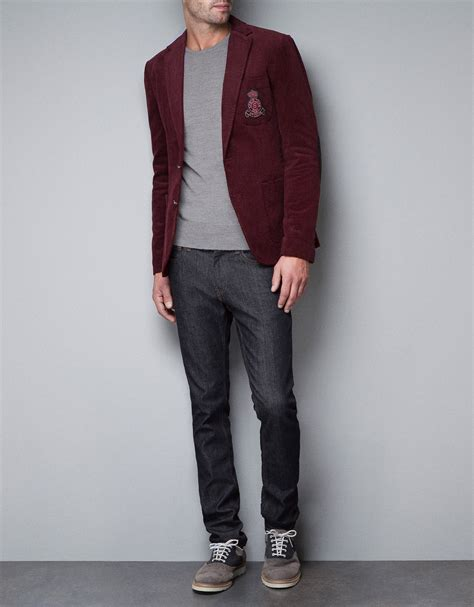 Blazer Zara Maroon zara blazer with crest in purple for maroon lyst