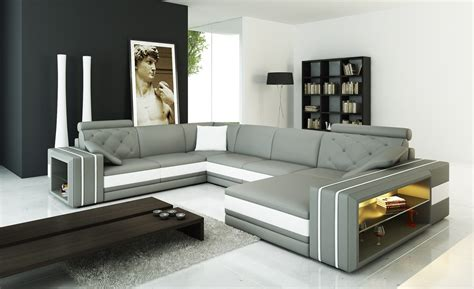 White And Grey Leather Sofa Divani Casa 6142 Modern Grey And White Leather Sectional Sofa