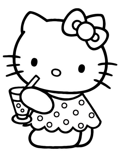 cute hello kitty drinking water coloring page h m