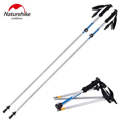 Naturehike Tongkat Alpenstocks Hiking Trekking Pole 5 Section naturehike ultra light handle 5 section adjustable canes walking sticks trekking pole