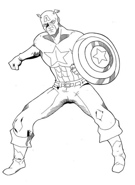Captain America With Shield Coloring Page Kids Coloring Captain America Shield Coloring Pages Printable