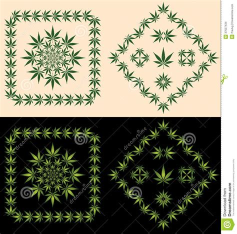 pot leaf borders icons stock vector illustration