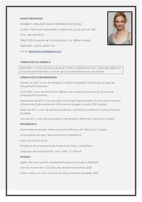 Modelo Curriculum Vitae Para Hosteleria modelo de curriculum vitae hotelero modelo de curriculum vitae
