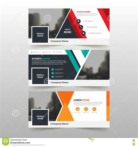 Horizontal Layout Web Design   green red orange corporate business banner template