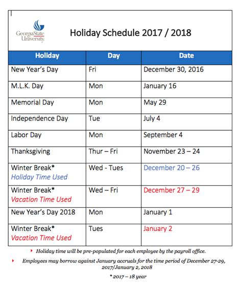 2018 Calendar With Holidays And Observances 2017 2018 Schedule