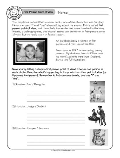 teach this worksheets create and customise your own worksheets pictures first person point of view worksheets roostanama