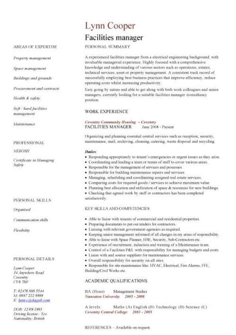 Facility Manager Sle Resume by Facilities Manager Cv Sle Ultimately Delivering Reliable Safe And Clean Premises In Which To Op
