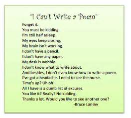 I Cant Write My Essay by By Degrees A Poem Of Excuses