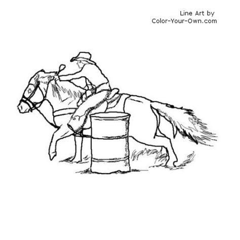 barrel racing pony coloring page