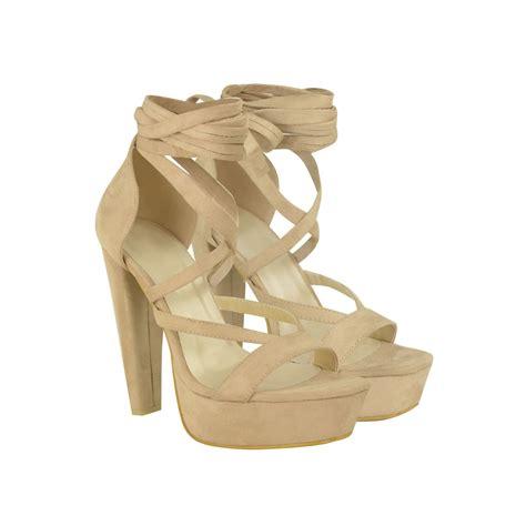 block heel high heels suede ankle lace up platforms block high heels
