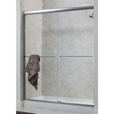 Rainx For Shower Doors Foremost Cove 48 In X 72 In H Semi Framed Sliding Shower Door In Brushed Nickel With 1 4 In