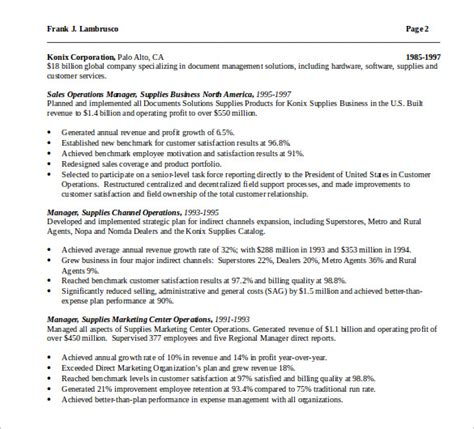 sle operations manager resume 9 download free