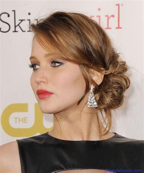 hairstyles jennifer lawrence celebrity mesh bun hairstyles hairstyles pinterest