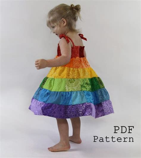 Patchwork Dress Pattern - rainbow dress pdf pattern toddler patchwork by
